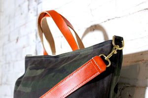ben day tote | camo/orange
