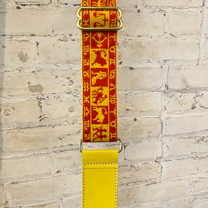 vintage ribbon strap | tribal + yellow leather
