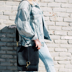 walker foldover crossbody large | black bison