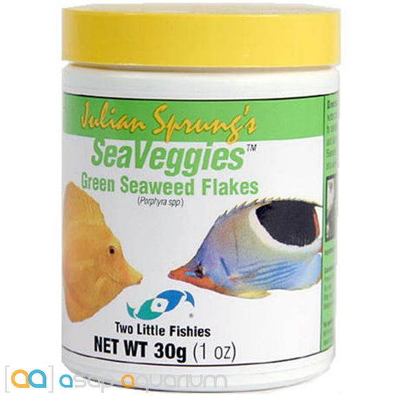Two Little Fishies Julian Sprung's Sea Veggies Green Flakes 30 gram jar - ASAP Aquarium