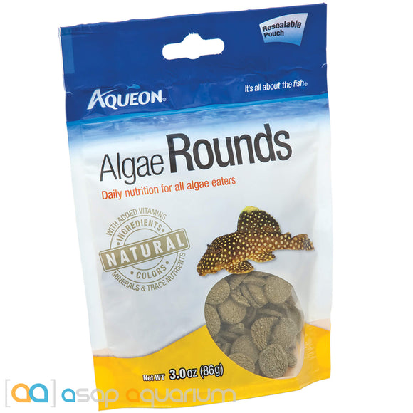 Aqueon Algae Rounds Fish Food Tablets 3oz Pouch - ASAP Aquarium