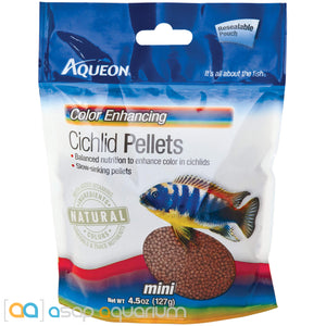 Aqueon Cichlid Color Enhancing Mini Pellets Fish Food 4.5oz Bag - ASAP Aquarium