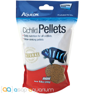 Aqueon Cichlid Pellet Mini Fish Food 8.5oz Bag - ASAP Aquarium