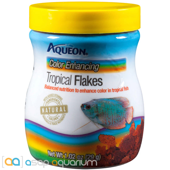Aqueon Color Enhancing Tropical Flakes Fish Food 1.02oz Jar - ASAP Aquarium