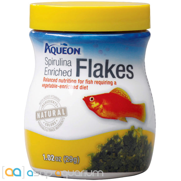 Aqueon Enriched Spirulina Flakes Fish Food 1.02oz Jar - ASAP Aquarium