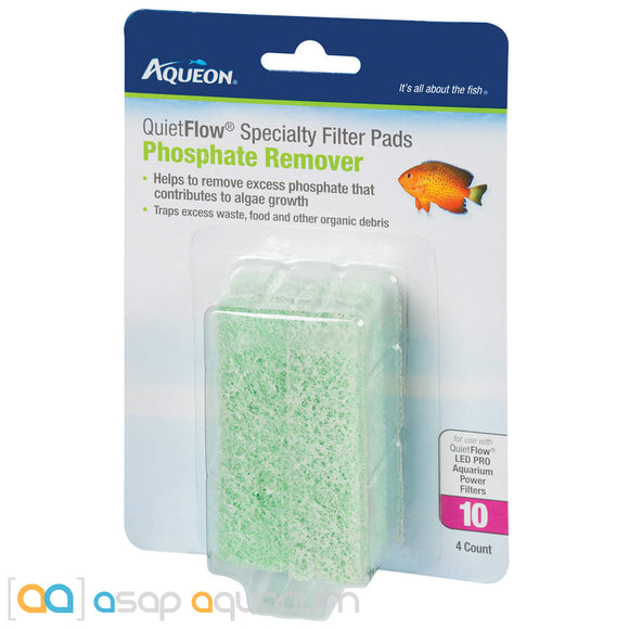 Aqueon QuietFlow Size 10 Specialty Filter Pads Phosphate Reducer 4pk - ASAP Aquarium
