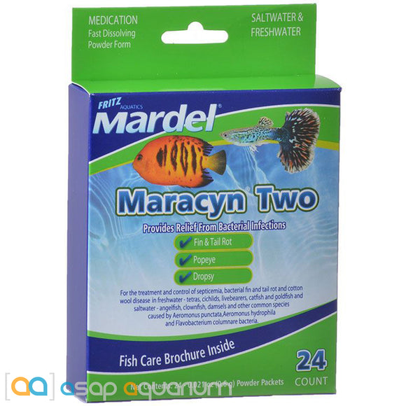 Mardel Maracyn Two Antibacterial Aquarium Medication Powder 24 Count