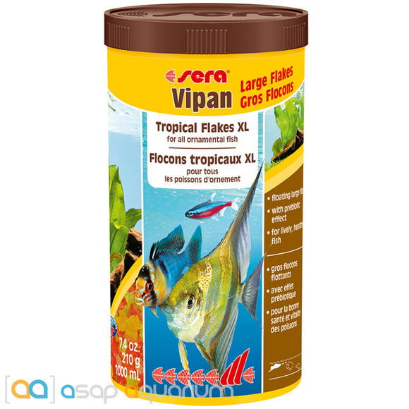 Sera Vipan XL 7.4 oz (1000 mL) Large Flake Tropical Fish Food - ASAP Aquarium
