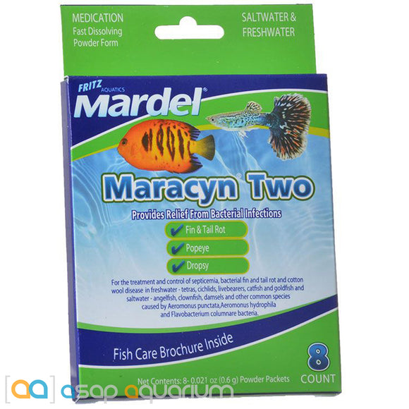 Mardel Maracyn Two Antibacterial Aquarium Medication Powder 8 Count