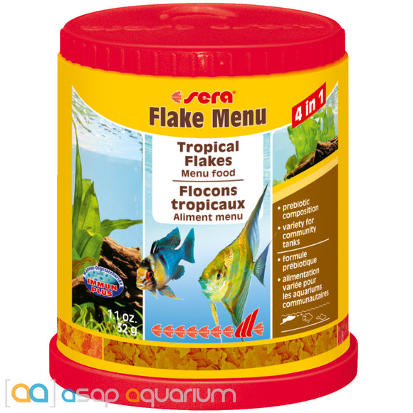 Sera Flake Menu 4 in 1 Tropical Flakes Fish Food 1.1 oz