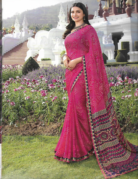 Dark Pink with black Chiffon saree V22921