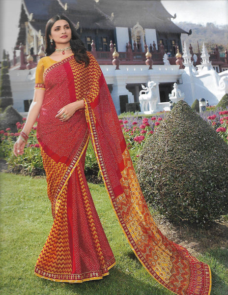 Red with yellow Chiffon saree V22923