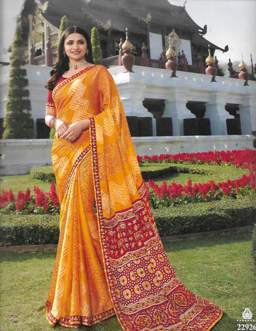 Yellow with Red Chiffon saree V22926