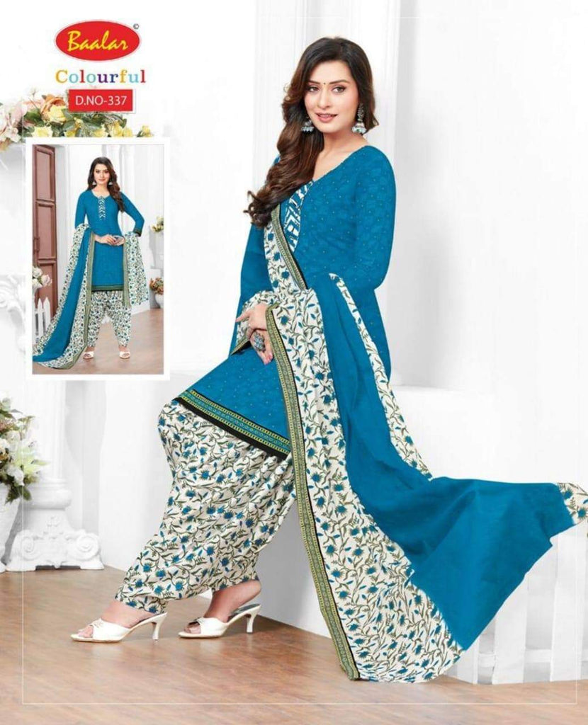Blue with White  readymade patiala Suit BC337