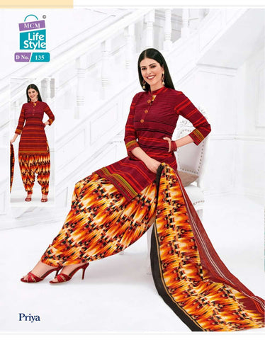 Maroon with Mixed Orange readymade patiala Suit MC135