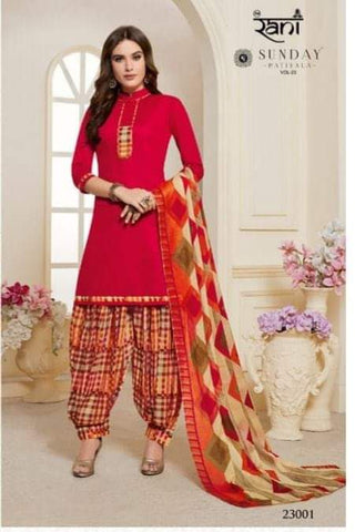 Red with Cream readymade patiala Suit S23001