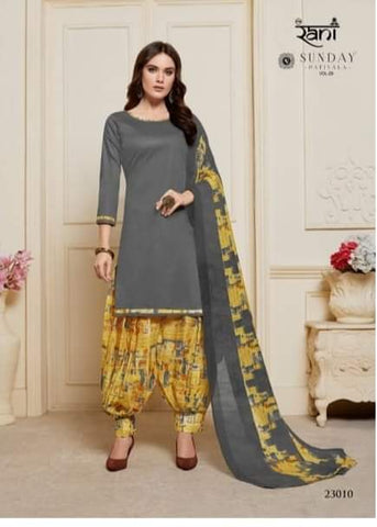 Gray with Yellow  readymade patiala Suit S23010