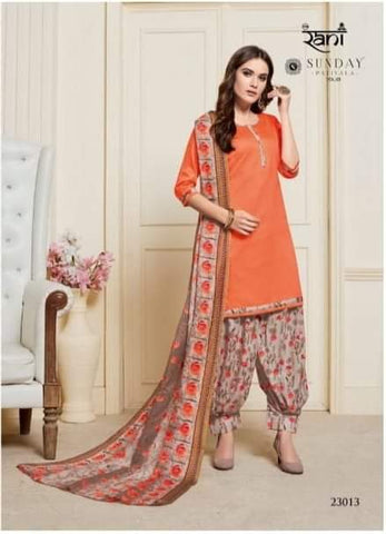 Orange with Cream readymade patiala Suit S23013