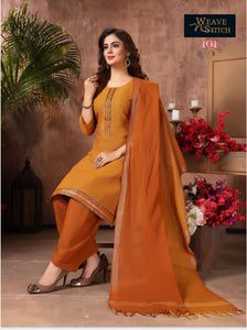 Orange with Sandal ready-made patiala suit WS101