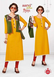 Yellow with Red Cotton Kurti  AM4653