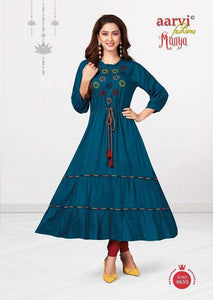 Blue with Red Cotton Kurti  AM4655