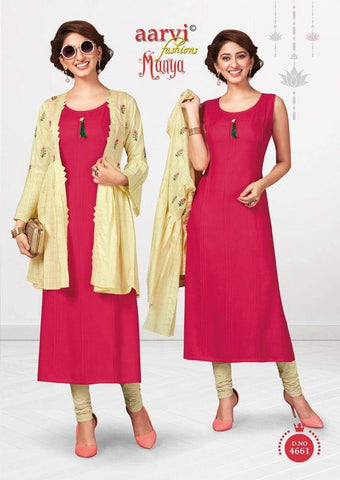 Red with White Cotton Kurti  AM4661