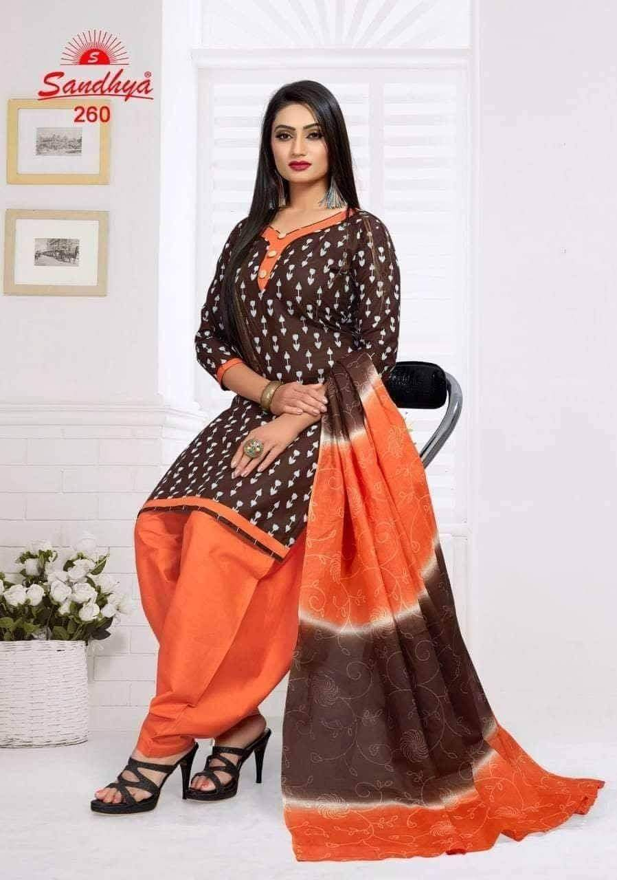 Brown with Orange  readymade patiala Suit GJ260
