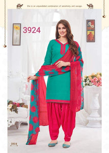 Green with Red readymade patiala Suit GS3924