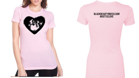 Women's Black Beauty Breed Rottie Love (Heart) T-Shirt