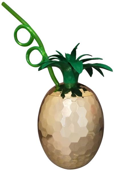 PINAPPLE CUP WITH PLASTIC STRAW - Adults Dreams