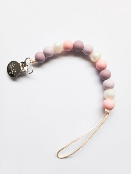 Teething Pacifier Clip | Pink Pearl