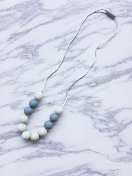 Teething Necklace | Silver Marble Necklace