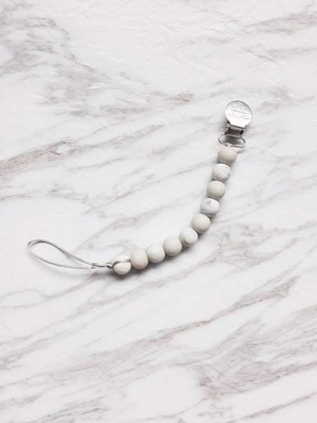 Teething Pacifier Clip | Grey Marble