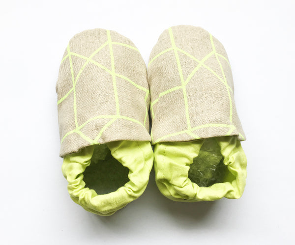 Baby shoes | Neon Yellow Linen Slip On