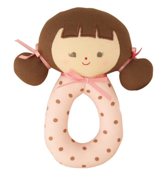 Dolls and Rattles | Alimrose Grab Rattle - Pink Cinnamon Audrey