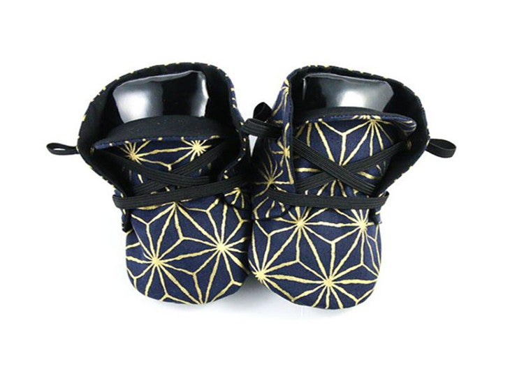 Baby Shoes Black And Gold Origami Booties Special Delivery For Kidz