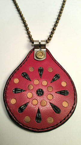 Cosmic Leather Necklace - STELLAR BURST w/ Inlays - Red