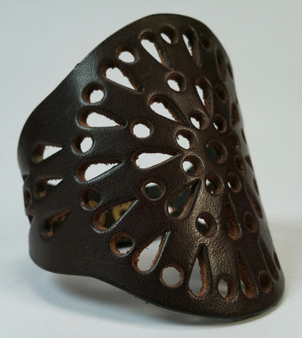 Cosmic Leather Cuff - STELLAR BURST FILIGREE - Chocolate