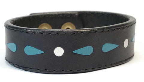 "Cosmic Leather Cuff - STELLAR BURST W/ INLAYS - Black - 3/4"" W"