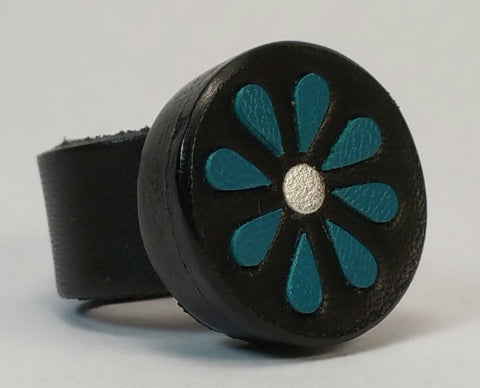 Cosmic Leather Ring - FLORAL CLUSTER w/ Inlays - Black