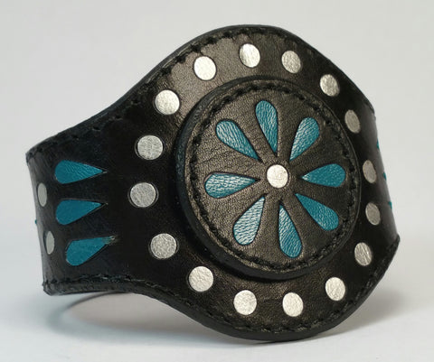 "Cosmic Leather Cuff - FLORAL CLUSTER w/ Inlays - Black - 2 1/8"" W - Stacked"