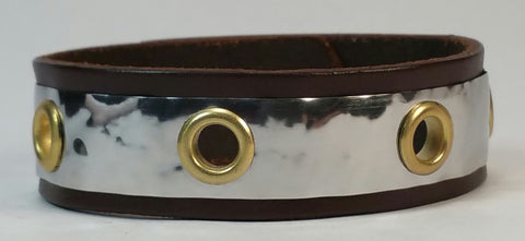 "Cosmic Leather Cuff - STAINLESS STEEL w/ large brass eyelets - 3/4"" W"