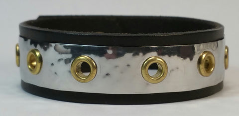 "Cosmic Leather Cuff - STAINLESS STEEL w/ small brass eyelets - 3/4"" W"