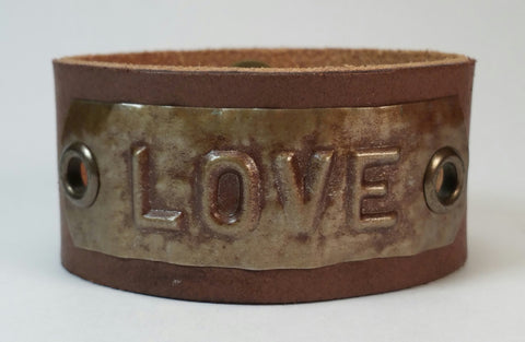 "Custom COSMIC IMPRESSION Leather Bracelet - ONE WORD - Distressed - 1 1/4"" W"