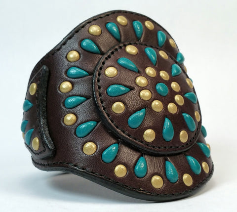 "Cosmic Leather Cuff - STONED LEATHER - Stellar Burst - Chocolate - 3"" W - Men's Stacked"