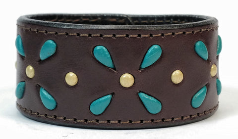 "Cosmic Leather Cuff -  STONED LEATHER - Stellar Burst - Chocolate - 1 1/4"" W"