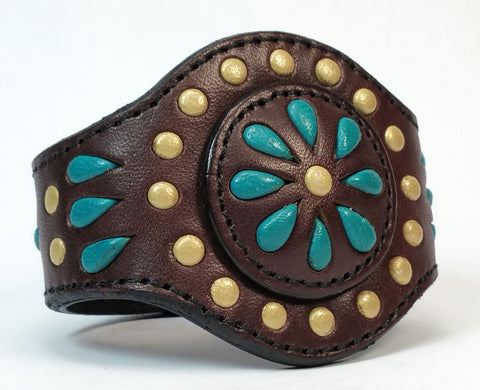 "Cosmic Leather Cuff -  STONED LEATHER - Floral Cluster - Chocolate - 2 1/8"" - Stacked"