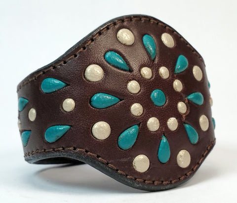 "Cosmic Leather Cuff - STONED LEATHER - Stellar Burst - Chocolate - 2 1/8"" W"