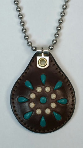 Cosmic Leather Necklace - STONED LEATHER - STELLAR BURST - Chocolate