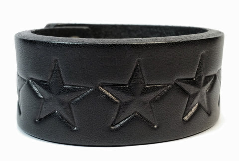 "Cosmic Leather Cuff - BRANDED STARS - 1 1/4"" W"